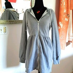 VANS Empire Waist Hooded Sweat Jacket Dress Size L